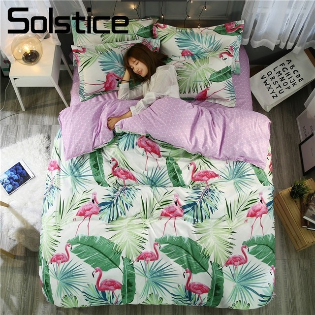 Solstice Home Textile Flamingo Adult&Teen Bedding Set Tropical Plant Duvet Cover Pillowcase Sheet Bedlinen King-Twin Size 3/4Pcs