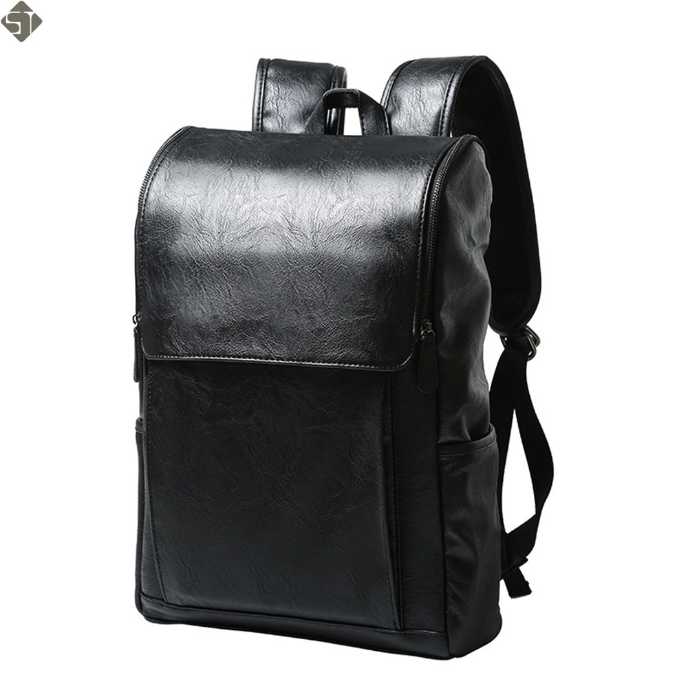 Fashion Multifunctional Women Backpacks Leather Shoulder Men Bags Large Travel Backpack Black Mochila Feminina