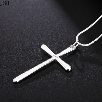 Wholesale for women men lady silver color necklace fashion charms cute hot party nice cross necklace free shipping JSHP066 2