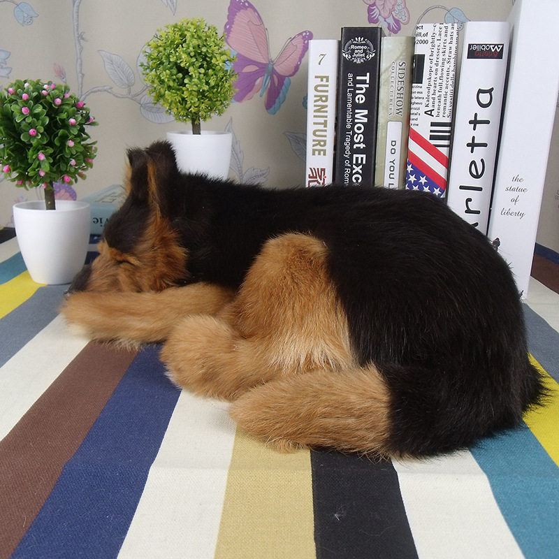 Lifelike Plush Simulation Animal Sleeping Dog Model Table Ornament Toy Gift