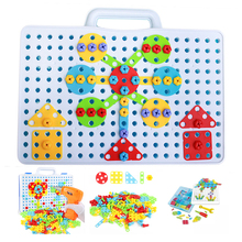 149/193Pcs Children Toys Drill Puzzle Educational Toys DIY Screw Toys Kids Tool Kit Boy Jigsaw Mosaic Design Building Toy цена в Москве и Питере