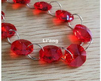 Free Shipping Red Color 10Meters 14mm Octagon Chain Wedding Party K9 Crystal Strand Garland Beads Decoration Chandelier Lamp