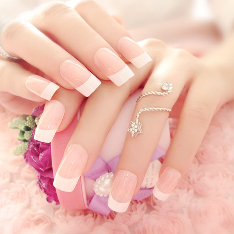 Simple French Long False Nails With Glue Wedding Bride Party Ladies Pink White Fake Full Nail Tips Mixed Size 24 Pcs/Set HB88