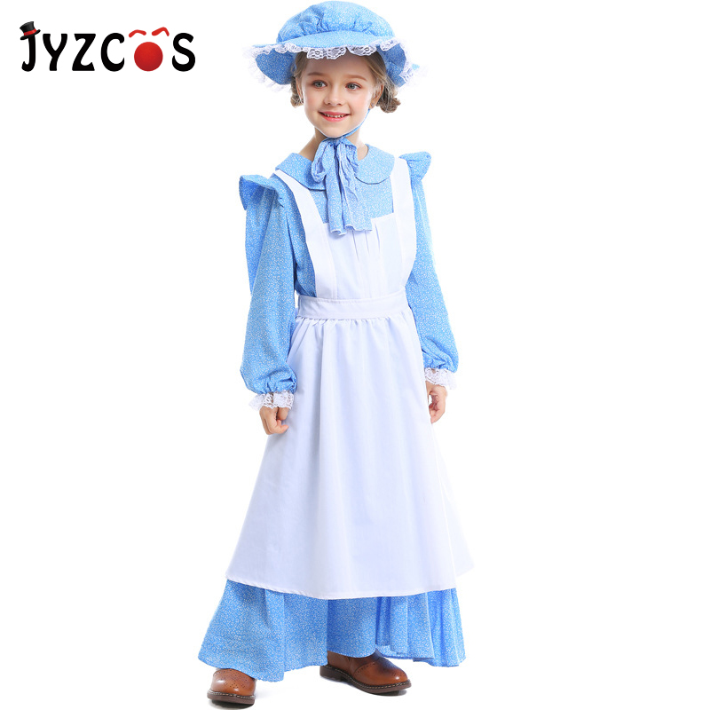 JYZCOS Idyllic Costumes for Girls Performance Stage Uniform Kids Princess Farm Maid Cosplay Costume Halloween Carnival Costume