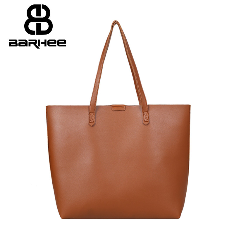 BARHEE Simple Women Shoulder Bag Soft PU Leather Casual Tote Large Capacity Korean Fashion Women Handbag Hasp Hand Bag Brown stylish patchwork plaid pu leather handbag women korean style fashion large shoulder bag ladies gorgeous simple crossbody bag