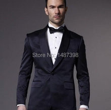 2016 Custom Made Một Nút Dark Hải Quân Groom Tuxedo Shawl Ve Áo Best Man Rể Men Suits Wedding (Áo + quần + Bow Tie)(China)