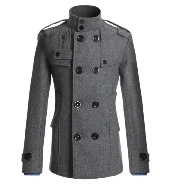 Mens Overcoat Long Sleeve Casual Woolen Coat Male Jacket Windbreaker Men Grey   Trench   Coat Slim Fit Boys Outerwear Plus Size 3xl