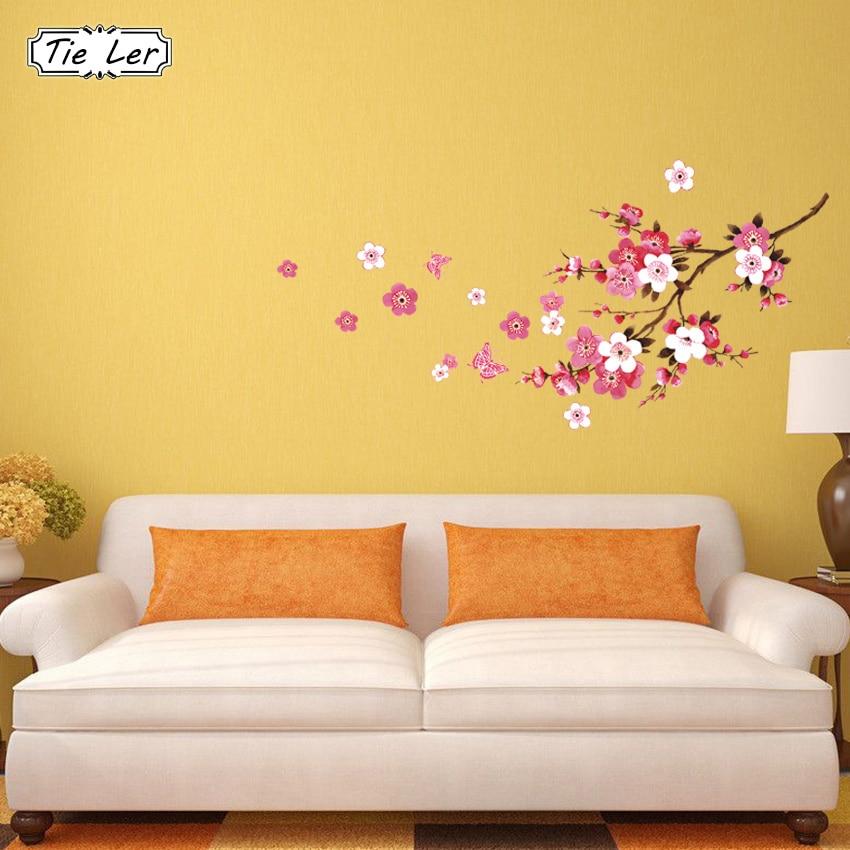 TIE LER Beautiful Sakura Wall Stickers Living Bedroom Decorations DIY Flowers PVC Home Decals Mural Arts Poster