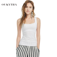 Sexy Low Cut Basic T Shirts Tank Top Solid Close Fitting Cotton Sleeveless Women Girl T