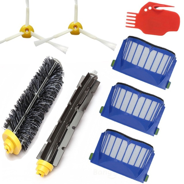 8pcs/lot Hepa Filter&Side Brush Kit for Irobot Roomba 600 Series 595 620 630 650 660 680 690 Vacuum Cleaner replacement parts 2 brush 3 side brush 3 hepa filter 1 cleaning cylinder robot vacuum cleaner 610 611 627 620 630 650 replacement parts