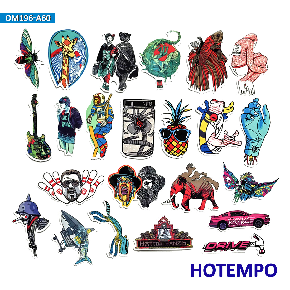 60pcs Mix Graffiti Stickers for DIY Mobile Phone Laptop Luggage Guitar Case Snowboard Bicycle Car PVC Waterproof Decal Stickers in Stickers from Toys Hobbies