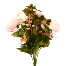 1pc 47cm Faux Silk Pink Peony Bridal Flower Bouquet Artificial Peony Flowers Leaves Fake Wreath Wedding Party Home Decoration