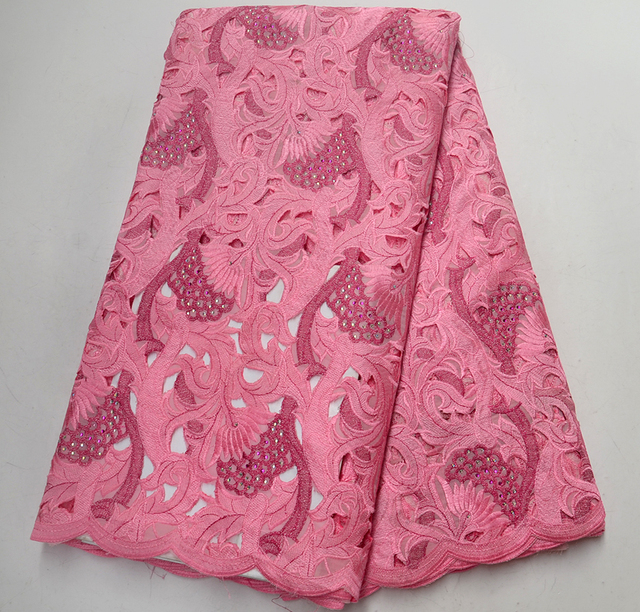 New African Dry Lace Fabric Swiss Voile Lace With Stone High Quality Pink Embroidered 100% Swiss cotton For Women dress