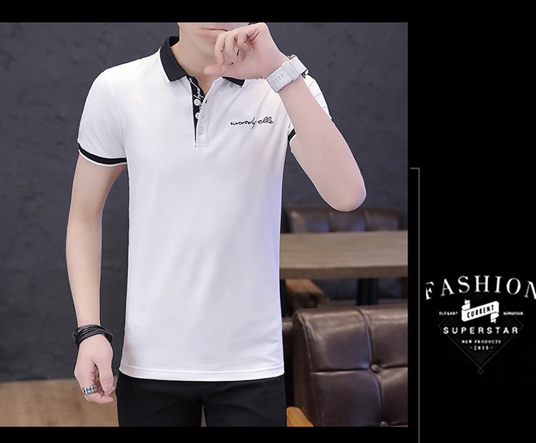 2019 men splicing t-shirts with short sleeves Comfortable in summer youth leisure lapel t-shirts 13