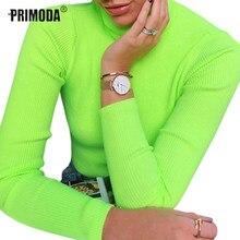 9140fc284240f3 Swetry damskie swetry z golfem z długim rękawem fluorescencyjny zielony swetry  kobiet zima topy seksowna koszulka z dzianiny kos.