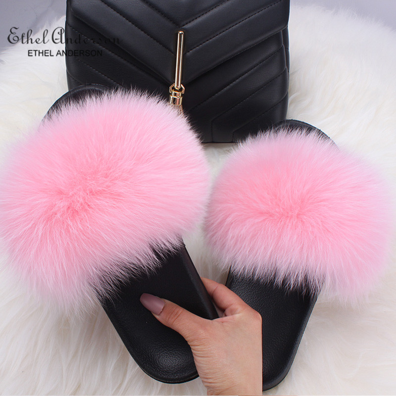 WOMAN LADIES SUMMER FLAT SHAGGY FUR SLIDERS SHOES SIZE 3-8