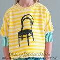 2016 New Bobo Choses Verão Crianças Cadeira de Faixa Amarela T-shirt do Bebê Das Meninas Dos Meninos t shirt Full Sleeve Tees Crianças roupas