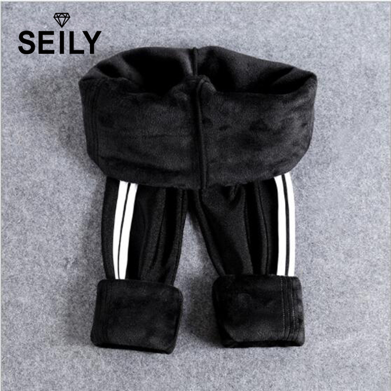 Plus Size Winter Warm Velvet Skinny Black Sport Leggings Women Side Striped Faux Leather Thick Fleece Gloss Pencil Pants Clothes