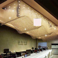 Прямоугольный Золото Магазин Кристалл hotel проход волна люстра КТВ клуб зал проект светодиодное освещение светодиодные лампы дома