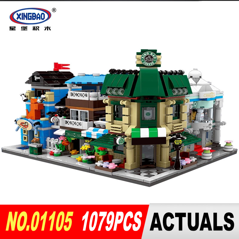 XingBao 01105 1079Pcs The Coffee Shop Wedding Store Flower Shop Pet Shop Set 4 in 1 Building Blocks Toys for Christmas gifts john bradley store wars the worldwide battle for mindspace and shelfspace online and in store