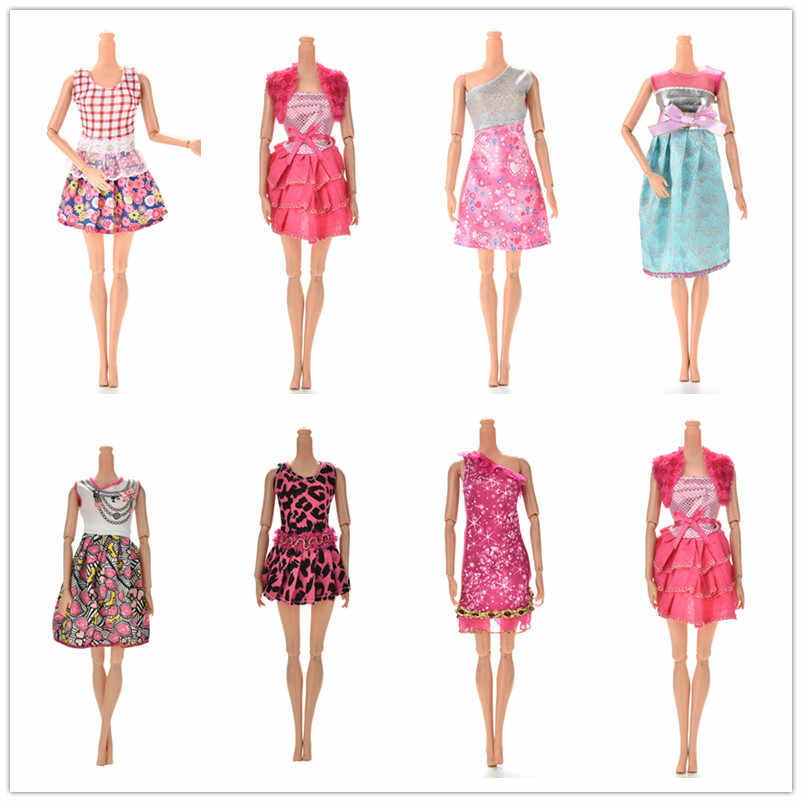 Fashion Colorful Different Styles Mini Dresses Party Wedding Wear Beautiful Handmade Skirt For Doll Accessories Gifts