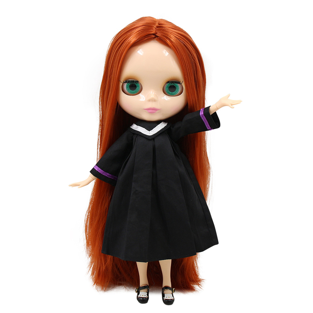 factory blyth doll BL232 centre parting joint body natural skin straight red brown hair 30cm 1/6, girl gift