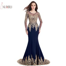 Elegant 2019 Mermaid Long Evening Dress Gold Applique Beaded Sleeve Gown robe de soiree