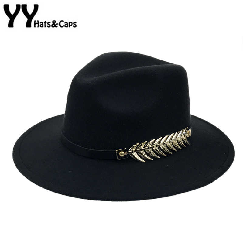 Invierno del sombrero de Fedora con la correa del metal de las mujeres ala  ancha Fieltro 4c9fe6a0f8f