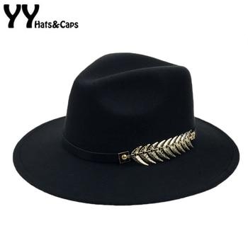 Invierno del sombrero de Fedora con la correa del metal de las mujeres ala  ancha Fieltro hombres sombrero fedora Sombrero de Panamá gorras vintage  sombrero ... 99de384f0ce