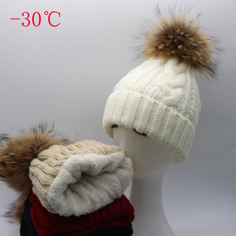 2018 neue Frauen Hut Warme Fleece Innen Beanie Winter Hüte Für Frauen Echte Waschbär Fell Pompon Hut Weibliche Twist Gestrickte kappe Skullies