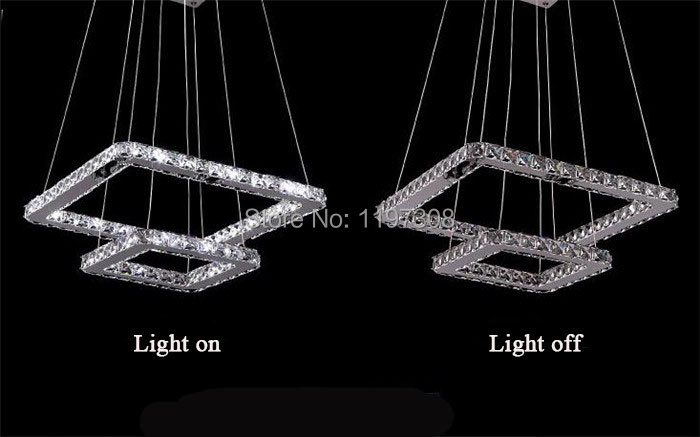 2015 Pendente De Teto Pendant Lights 2 Square Rings Led