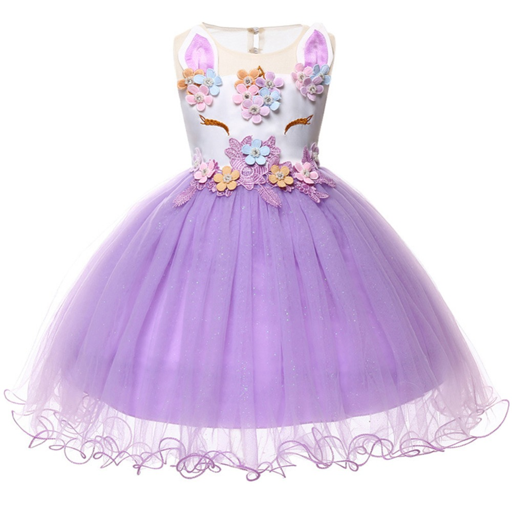 Cute Baby Dress Flower Unicorn Birthday Party Purple Sleeveless Tulle Ball Gown Princess Dress Fashion Wedding Baby Girls Dress
