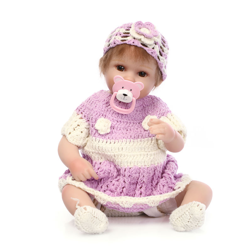 ФОТО premie newborn sweet small 17inch 42CM soft silicone vinyl real soft gentle touch reborn baby doll Christmas gift for children