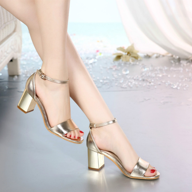 2017 New Women Summer Sandals Square Heel Lady Elegant Sandals High Heels Strap Woman Shoes Office Lady Gold Silver Size 35-40 size 30 43 woman ankle strap high heel sandals new arrival hot sale fashion office summer women casual women shoes p19266