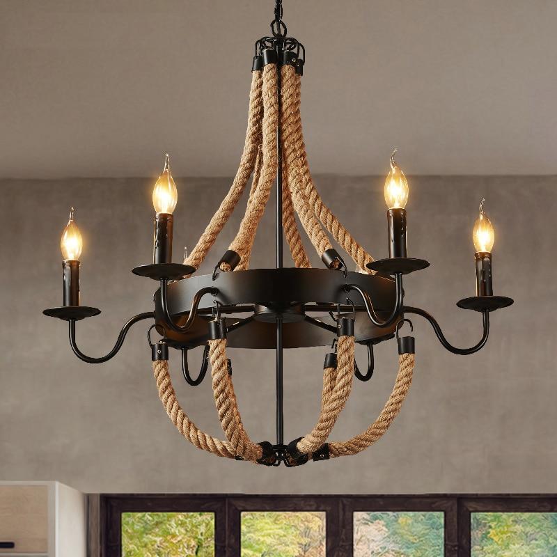 купить industrial Vintage rope pendant Lights retro Pendant Lamp lamparas colgantes luminaire suspendu Dinning Room lighting fixture по цене 5201.81 рублей