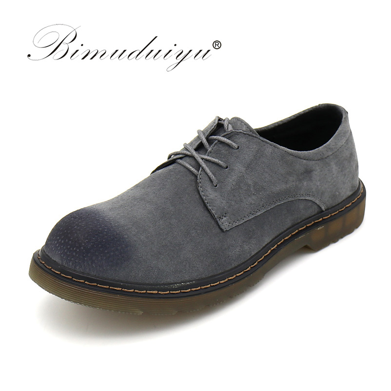 BIMUDUIYU Men's Casual Shoes Round Toe Pig Suede Leather Spring Autumn Worker Shoes Large Size 38-47 Oxford Shoes For Men selenga hd930d