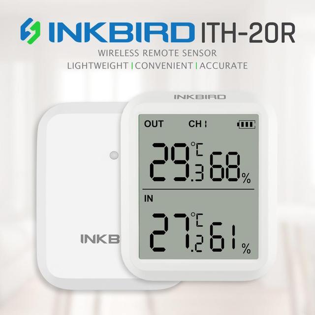 Inkbird ITH 20R דיגיטלי מדדי לחות מקורה מדחום לחות מד עם 1 משדר מדויק טמפרטורת אקווריום חדר מוסך