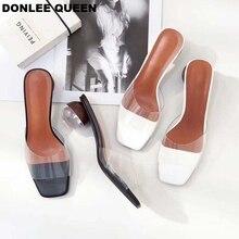 купить 2019 Summer Clear Crystal Heel Slippers Shoes Women PVC Transparent Shoes Round Heel Ladies Mules Outdoor Slides sandalias Mujer по цене 1583.25 рублей