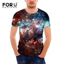 FORUDESIGNS Mens Short Sleeve Cool T Shirt Soft Spandex Teen Hip-hop Hipster 3D Galaxy Star Space Pattern tees tops for Male