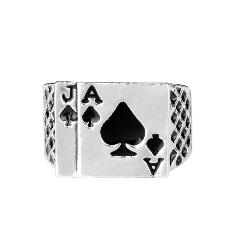 Wholesale Classic Vintage Black Silver Color Rings Cool Mens Punk Jewelry Chunky Black Enamel Spades Poker Ring For Men Women