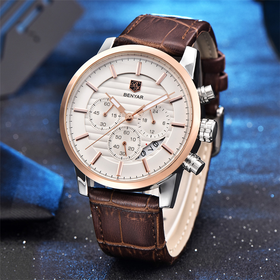 BENYAR Watch Men Waterproof Chronograph Business Dress Mans Watches Date Quartz Wristwatches Male Hour relogio masculino 2017 (16)