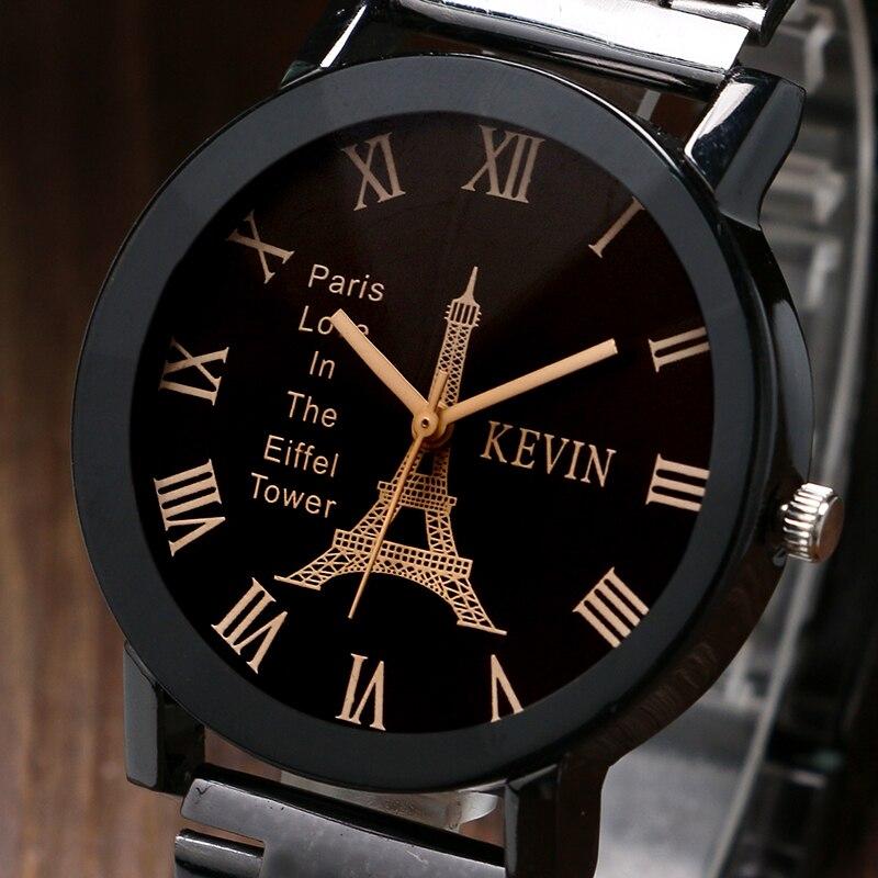 KEVIN Vintage Paris Eiffel Tower Dial Wrist Watch Women Ladies Girl Quartz Watches Gift for Girlfriend Black Strap Clock Hot hanae mori paris vintage юбка винтажная 70e