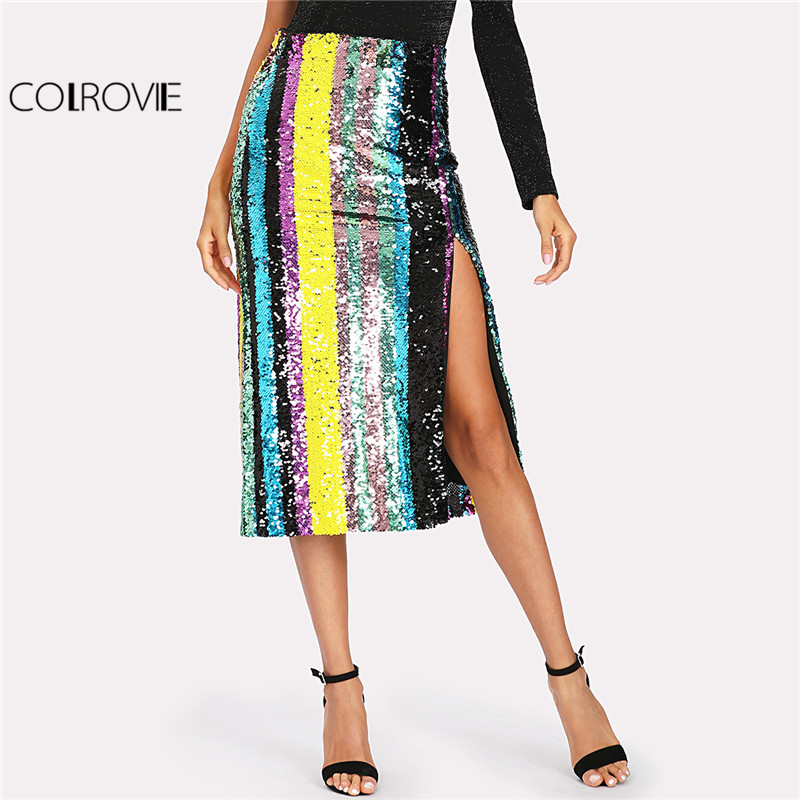 COLROVIE 2018 Patchwork Side Slit Striped Sequin Skirt Ladies Mid Waist Colorblock Party Skirt Women Full Length Sheath Skirt