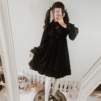 Dresses For Women Lolita Gothic Black Retro Dress Long Sleeve And Short Sleeve Dress Trimmed With