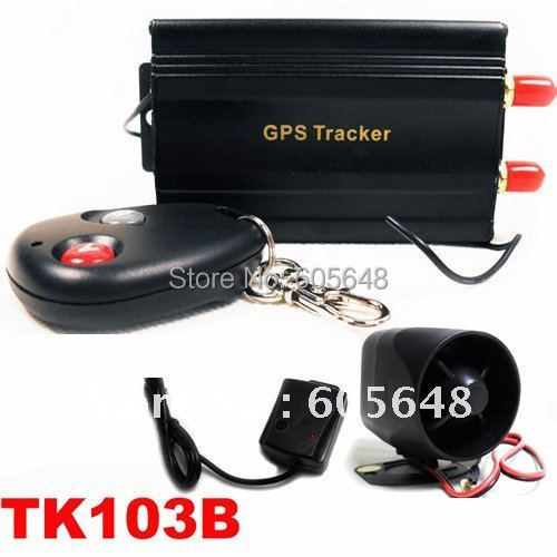 Free Shipping Quad-band Google Link SMS Auto Vehicle Car GPS Tracker TK103B + Shake Sensor+ Siren
