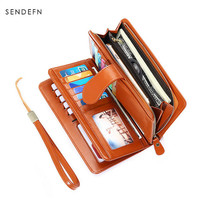 New Arrival Brand Wallet Split Leather Wallet Female Long Wallet Women Zipper Purse Strap Coin Purse