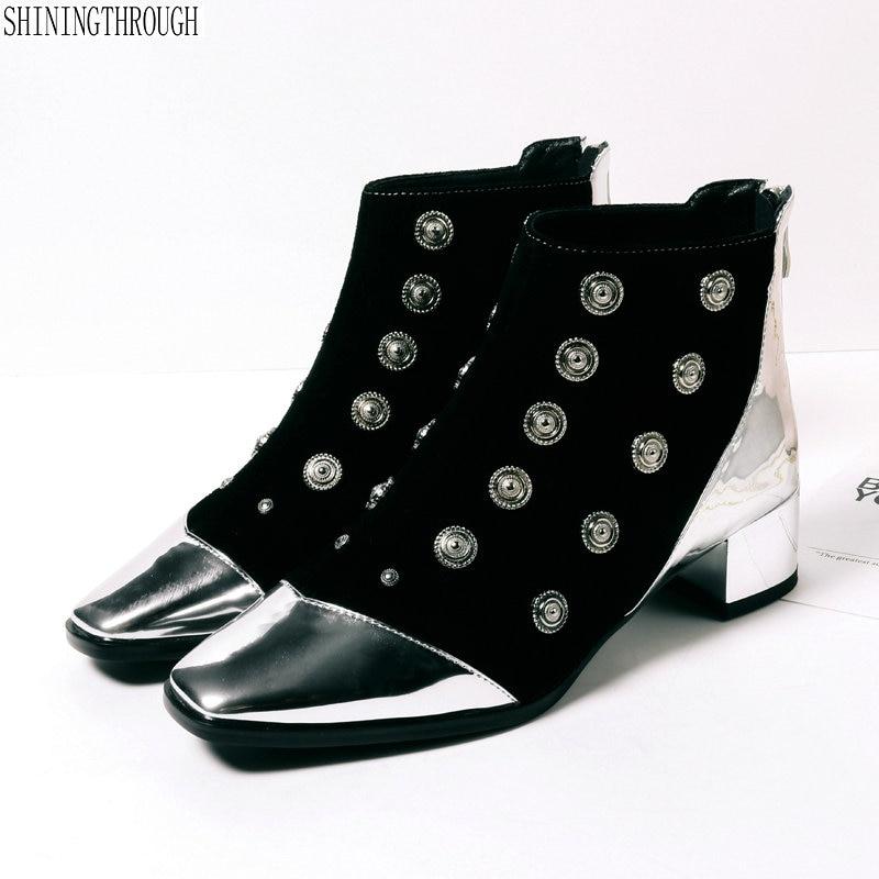 Dames Parti Véritable Femme gris Bas Cheville Chaussures Épais Femmes Talons  Patchwork Bottes Noir Robe Mariage Cuir ... dfd805524c83