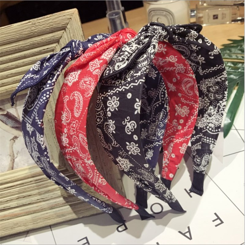 New High-end Hair Accessories Korean Retro Floral Knotted Small Ears Bow Wide-brimmed Fashion Hairband Headband Curling Women