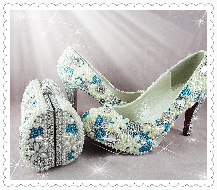 Aliexpress.com Comprar Cristal hechos a mano algo zapatos azules de la boda para novia fiesta / novia de fotos de colección de zapatos de boda fiable