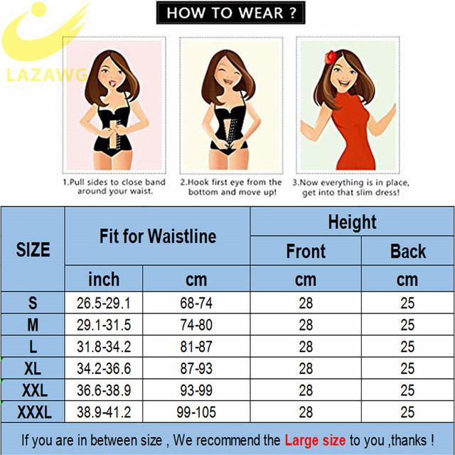 LAZAWG Women Waist Trainer Tummy Control Belt Waist Trimmer Weight Lost Corset Neoprene Sweat Sauna Strap Slimming Underwear 5